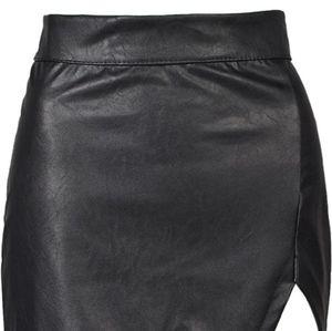 PERSUN Faux Leather Skirt XL Asymmetrical HOT NWT